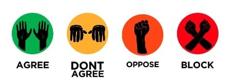 Occupy Movement Hand Signals - Agree, Don't agree, Oppose, Block