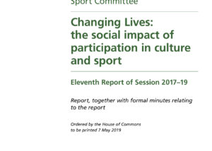 """The title page of a report from the House of Commons Digital, Culture, Media and Sport Committee entitled """"Changing Lives: the social impact of participation in culture and sport"""""""