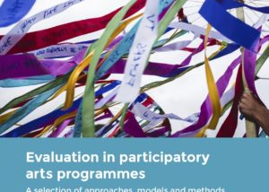"""""""Evaluation in Participatory arts programmes. A selection of approaches, models and methods developed across Creative People and Places. 2013-2016."""" Cover art is a group of streamers on sticks up in the air against a background of the sky."""