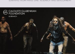"""""""Sharing the Stage"""", Learning from phase one: Research and Development. Cover Art is a group of Aboriginal performers in traditional body/face paint performing in Scotland as part of Home Away 2016."""