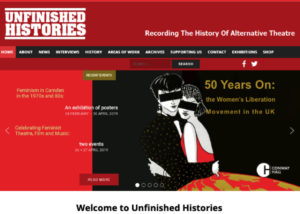 The Home Page of the Unfinished Histories website. Red, white and black colour palette. Prominantly placed is a handdrawn image of two women in formal wear in eachothers arms with the caption '50 years on: the women's liberation movement in the UK'