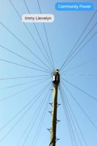 Community Power by Immy Llewelyn; image shows a telegraph pole from below