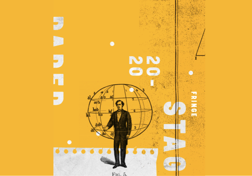Paper Stages. Cover art is a yellow backgroun, a man in all black is stoof on a white floor made out of old fashioned film. Behind him is a a drawing of the longitude and lattitude lines around the globe.