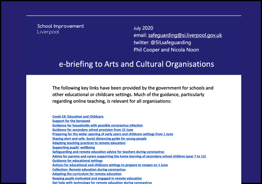E-briefing to Arts & Culture Organisations