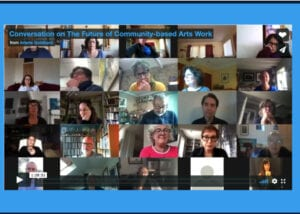"""A screenshot of the first moments of a Vimeo clip of a recorded zoom meeting entitled """"Conversation on the future of community-based arts work"""""""