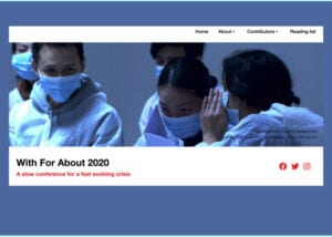 With For About. Image: 5 nurses in personal protective equipment talking together.