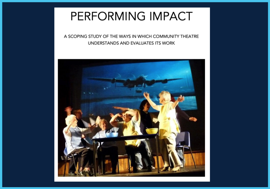 """""""Performing Impact. A Scoping Study of the ways in which community theatre understands and evaluates its work"""". Cover art is a group of women on stage, sat around a table with their arms in the air gesticulating wildly. Behind them is a projection of a jet plane."""