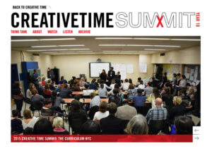 """""""CreativeTimeSummit"""" Cover art is a classroom full of adults listening to a speaker in the far ground of the photograph."""